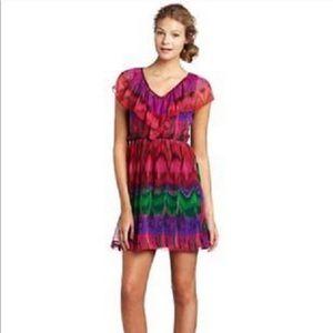 Trina Turk colorful silk chiffon ruffle dress